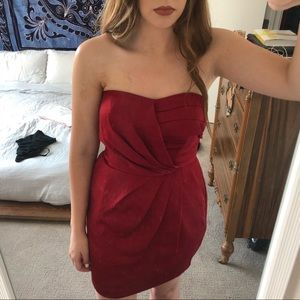 BCBGeneration Red Strapless Dress